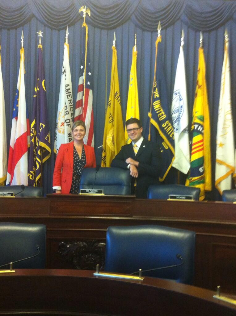 MSJDN Pres. Mary Reding and Caleb James from UDC Veterans Legal Services Project after House Committee on Veterans' Affairs hearing. Photo courtesy of @UCDVLSP