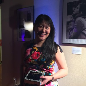 """Angelica Kang poses with her """"Woman of Inspiration"""" Award in San Francisco, California on March 5, 2015. Photo courtesy of Angelica Kang."""